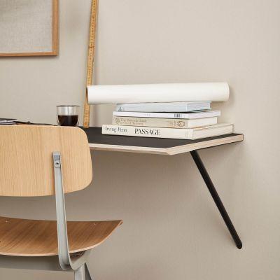 CANVAS - væghængt skrivebord i birkefinér m. mørkegrå linoleum