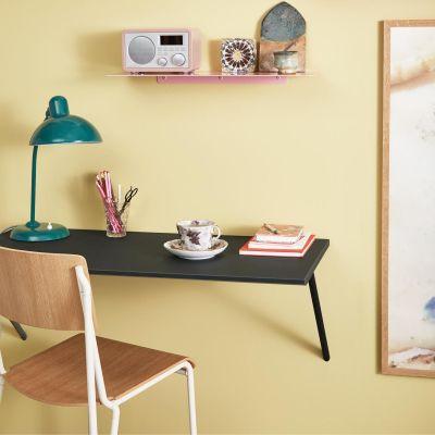CANVAS - væghængt skrivebord i mdf m. mørkegrå linoleum