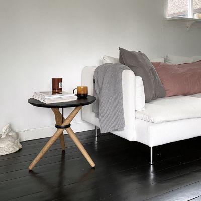 FAWN - sofabord, sortlakeret eg, sort beslag