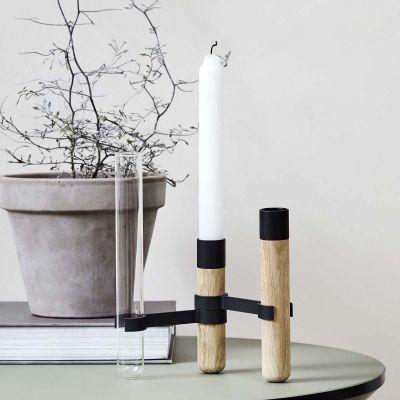 GRAB LYSESTAGE - egetræ m. 3 stager og 2 vaser