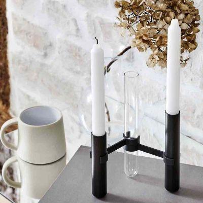 GRAB LYSESTAGE - sort m. 3 stager og 2 vaser