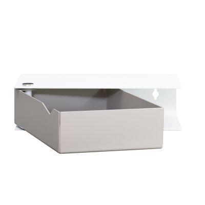 BESIDE - hvid ramme m. grå skuffe